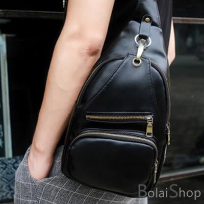 韓版新款優質皮革休閒包  銅釦斜拉鍊胸包 斜背包 Y205男女皆宜 寶來小舖 Bolai shop