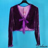 【Deluxe】典雅浪漫雪紡花邊綁帶絨布長袖外套(紫)