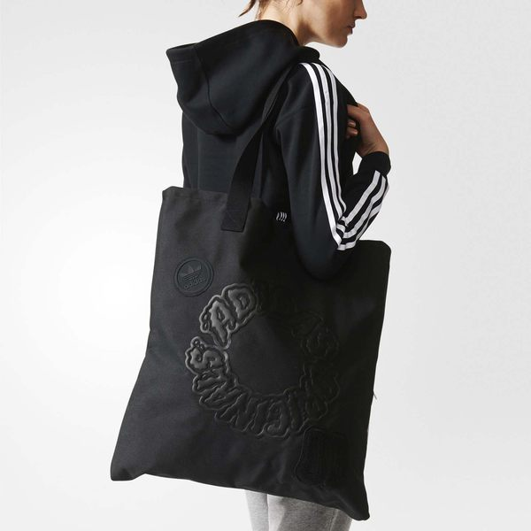 adidas 包包 Originals Shopper Bag 購物袋 單肩背 肩背 托特包 男女款 三葉草 黑 【PUMP306】 BQ8159
