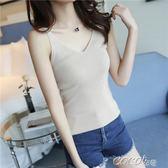 無袖針織上衣 新款女裝針織吊帶背心女夏外穿韓版短款修身性感V領內搭打底上衣 新品