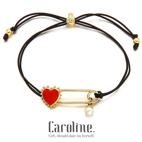 《Caroline》★韓星高俊熙同款紅心迴紋針珍珠設計俏皮時尚個性設計手鍊68901