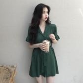 雪紡洋裝2020新款法式復古收腰顯瘦氣質短袖雪紡連身裙女夏小個子短裙子 suger