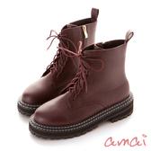 amai 《特務很忙》厚底粗縫線鞋邊馬汀靴 紅