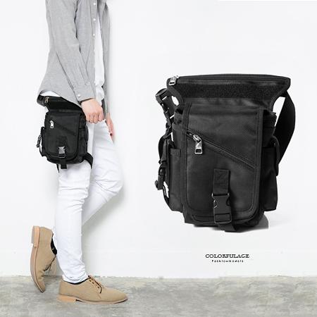 重機包 時尚全黑造型運動風腿包 防潑水設計 多夾層收納空間 柒彩年代【NZ463】型男街頭