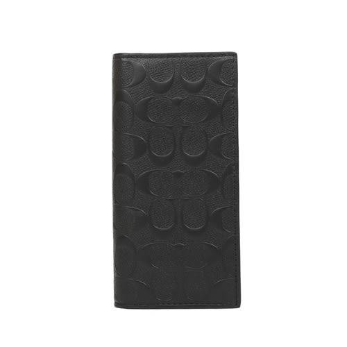 COACH 浮雕LOGO對開型長夾( 黑)