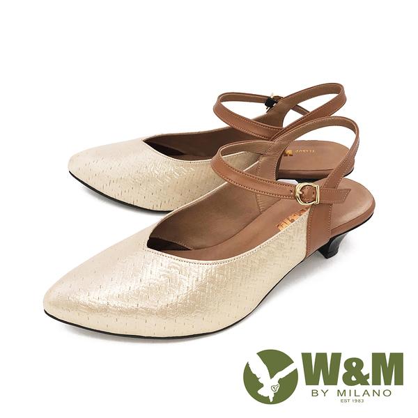 W&M (女) 歐美風 珠光舒適氣墊尖頭涼鞋 中跟鞋 - 金(另有黑)