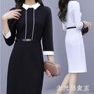 黑白撞色OL洋裝 2020新款春秋連身裙修身顯瘦時尚職業女工作服工裝 BT17581【大尺碼女王】