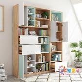 書櫃北歐經濟型書櫃帶門簡易書櫃書架簡約現代儲物櫃多功能格子櫃組合 XW