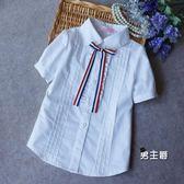 (萬聖節鉅惠)短袖襯衫童裝春夏季新品棉質女童中大童淺藍白色短袖襯衣學生棉質襯衫校服