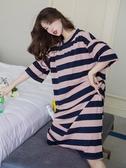 微辣條紋睡裙女夏季薄款短袖大碼寬鬆胖mm睡衣長款過膝夏天可外穿