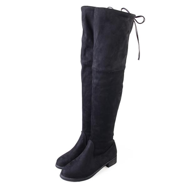 長靴-TTSNAP 激瘦美型絨面高彈力過膝靴 黑