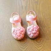 女童涼鞋2018春夏新款女童包頭花朵寶寶