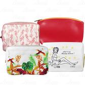 【17go】 CLARINS 克蘭詩 好嗨海馬化妝包(粉)+漾紅風采包+金翼鳳凰四方包+插畫女孩帆布化妝包