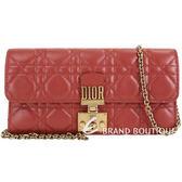 Dior DIORADDICT 頂級小羊皮籐格紋皮夾晚宴包(赭紅色) 1840347-54