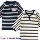 兒童T恤上衣Bon chou chou長袖條紋