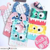 歐美小怪獸造型拼接寶寶圍兜 口水巾