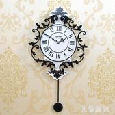 羅馬現代裝飾歐式靜音搖擺掛鐘時尚創意鐘表客廳臥室掛表個性時鐘 qf11383【黑色妹妹】