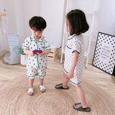 F兒童純棉紗布睡衣呼吸套裝全棉男女童日式和服 家居服空調服 檸檬衣捨igo