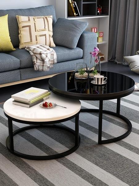 北歐茶几現代簡約小戶型簡易小茶几家用客廳創意鐵藝玻璃圓形茶几 一木良品