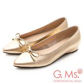 G.Ms. MIT系列-牛皮蝴蝶結尖頭包鞋-光澤金