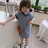 夏季新款 兒童休閒中長款洋裝 女童海軍風藍條紋無袖T恤裙 夏季新品