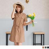 《DA5418》高含棉小V領釦腰圍綁帶短袖長版工業風洋裝 OrangeBear