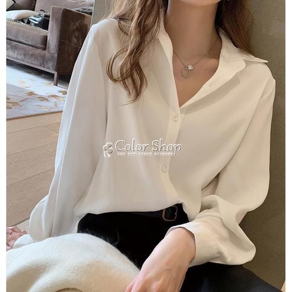 白襯衫女春夏韓版設計感小眾大碼寬松職業套裝打底衫雪紡襯衣 快速出貨