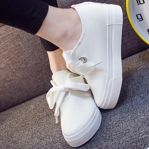 (全館免運) - 太陽的後裔女主同款蝴蝶結綁帶內增高小白鞋 - GG-9432