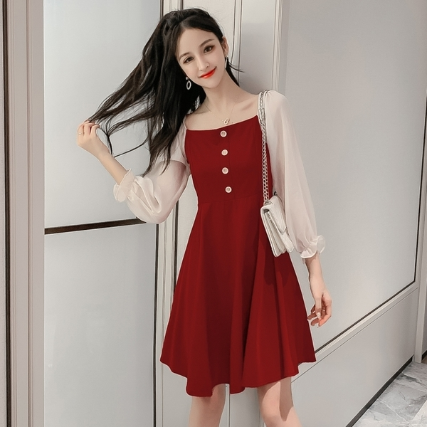 出清388 韓系復古雪紡荷葉袖拼接氣質收腰長袖洋裝