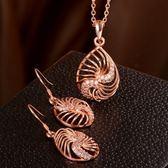 玫瑰金銀飾套裝含項鍊+耳環-復古鑲鑽生日七夕情人節禮物女飾品2色73bv31[時尚巴黎]