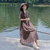 棉麻洋裝 民族風復古V領盤扣小碎花棉麻短袖連身裙夏季寬鬆顯瘦大擺長裙女 唯伊時尚