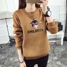 【GZ2C1】長袖T恤 個性女孩頭像印花上衣 秋冬季新款加絨加厚衛衣