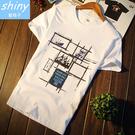 【Y151】shiny藍格子-無印休閒.夏季新款印花圖案修身圓領短袖上衣