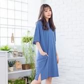 休閒洋裝--經典條紋個性貼布繡圓領單邊割破短袖連身裙(藍.綠XL-5L)-D467眼圈熊中大尺碼