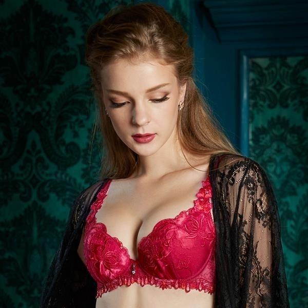 【南紡購物中心】莎露-聚焦鎂光 D罩杯內衣(紅)奢華蕾絲-深V包覆