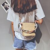 編織包2019新款夏季簡約側背斜背編織包藤編沙灘草編包 【限時優惠】