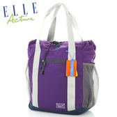 ELLE ACTIVE活力系列都會休閒格紋萬用購物袋(深紫) E7113503PL