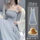 吊帶洋裝女2021年新款夏季氣質外穿小裙子法式雪紡長裙兩件套裝 蘿莉新品