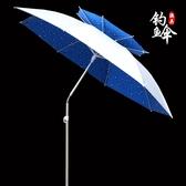 釣魚傘2.2米萬向雙層防雨曬戶外釣傘遮陽折疊垂釣傘2.4米漁具用品YYP 歐韓流行館