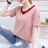 短袖T恤女ins潮寬鬆夏2021新款夏季刺繡V領韓版學生鏤空半袖上衣『潮流世家』
