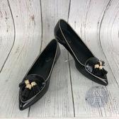 BRAND楓月 TOD S 經典 黑色 漆皮 尖頭 娃娃鞋 平底鞋 淑女鞋