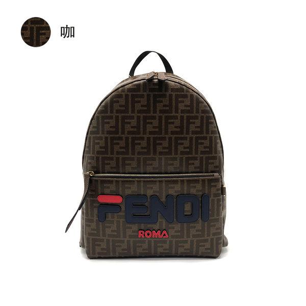 【台中米蘭站】全新品 FENDI 釉面緹花FF logo牛皮飾邊後背包(咖/黑)