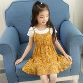 夏季童裝女童春裝裙子碎花雪紡吊帶裙短袖洋氣套裝公主連身裙