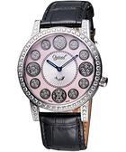 Ogival 愛其華 時來運轉珍珠貝晶鑽腕錶-粉貝/黑 3355DGS皮-粉