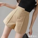 黑色高腰短褲女2020新款寬鬆闊腿褲a字顯瘦春夏外穿不規則休閒褲 LF6132【極致男人】