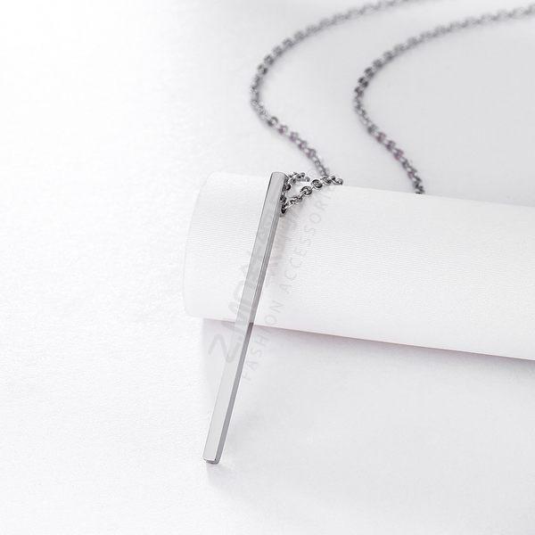 316L鈦鋼項鍊 鈦鋼色 幾何造型 女性項鍊 簡約線條項鍊 生日禮物 閨蜜 單條價【AJS128】Z.MO鈦鋼屋