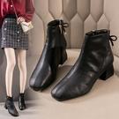 小粗跟短靴女方頭秋冬新款百搭軟皮媽媽鞋網紅瘦瘦馬丁靴
