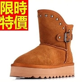 中筒雪靴-鉚釘鬆糕厚底真皮女靴子2色62p89【巴黎精品】