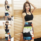 2020春裝新款韓版夜店女裝性感修身掛脖低胸上衣包臀短裙兩件套裝