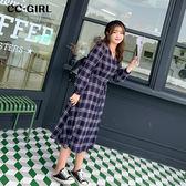中大尺碼 V領藍格紋長洋裝 - 適XL~4L《 69098 》CC-GIRL